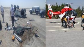 Ralli aracı yarışta devrildi, sürücü helikopter ambulansla Konya'ya getirildi