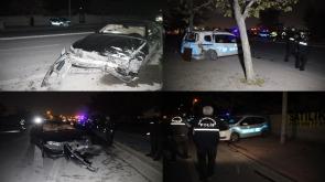 Konya'da Polis aracına otomobil çarptı 2'si polis, 3 yaralı