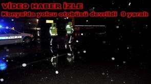 Konya'da yolcu otobüsü devrildi  9 yaralı