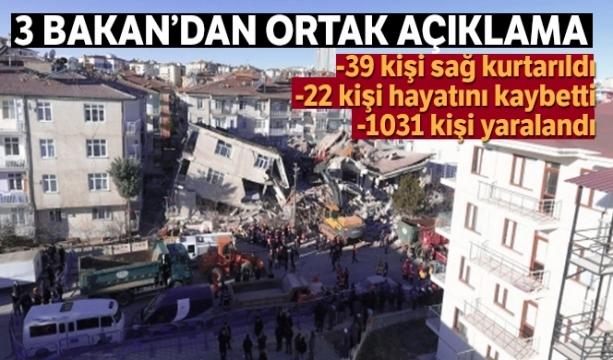 Son Dakika 3 Bakan'dan ortak Elazığ depremi açıklaması