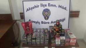 Konya'nın Akşehir ilçesinde Polisin durdurduğu otomobilde 20 kilo kaçak nargile tütüne ele geçirildi