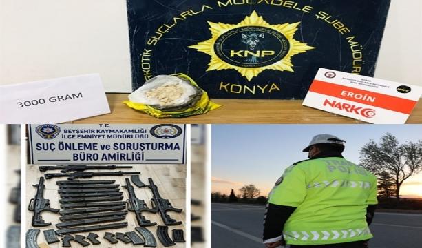 Konya'da narkotik polisinin 3 gün içerisinde yaptığı denetimlerde