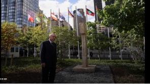 Cumhurbaşkanı Erdoğan, BM bahçesinde sergilenen Göbeklitepe dikilitaş replikasını ziyaret etti