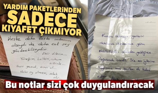 Ataşehir'den Elazığ'a gönderilen paketlerden çıkan notlar duygulandırdı