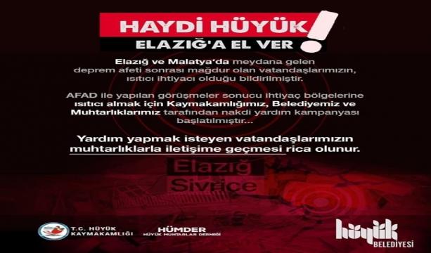 """Hüyük'te """"Haydi Hüyük Elazığ'a el ver"""" adlı yardım kampanyası"""