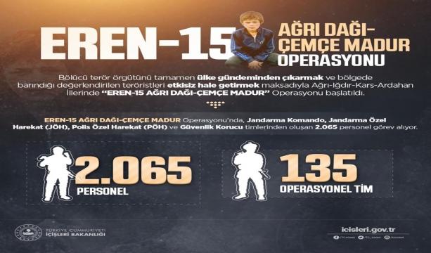 Eren-15 Ağrı Dağı-Çemçe Madur Operasyonu Başlatıldı
