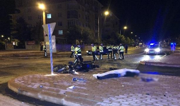 Konya'da Kaldırıma çarpan motosikletin sürücüsü hayatını kaybetti