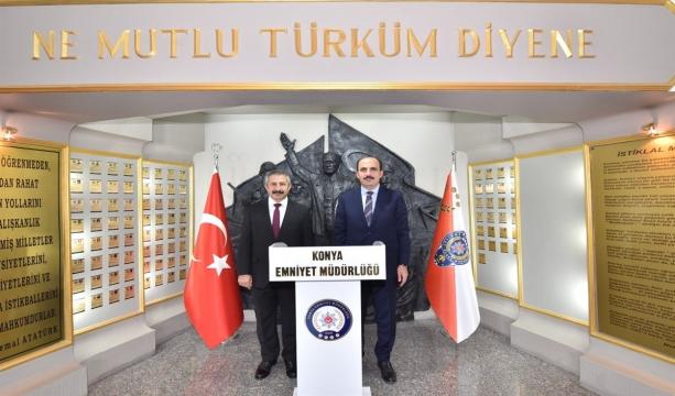 Konya Büyükşehir Belediye Başkanı Sayın Uğur İbrahim ALTAY, İl Emniyet Müdürü Sayın Engin DİNÇ'i Ziyaret Etti